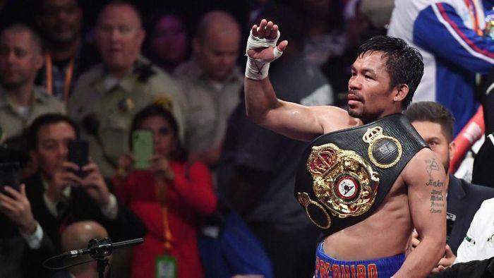Manny Pacquiao usai mengalahan Keith Thurman di MGM Grand Garden Arena, Las Vegas, Minggu (21/7/2019) WIB. (Foto: Ethan Miller/Getty Images)