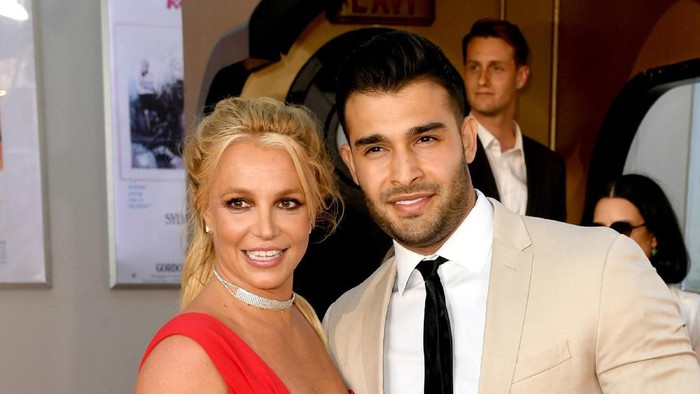 HOLLYWOOD, CALIFORNIA - JULY 22: Britney Spears and Sam Asghari attend Sony Pictures Once Upon A Time...In Hollywood Los Angeles Premiere on July 22, 2019 in Hollywood, California. (Photo by Matt Winkelmeyer/Getty Images)