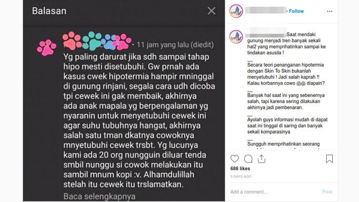 Netizen ramai komentar skin to skin bukan berarti bersetubuh. (Foto: Tangkapan layar Instagram)