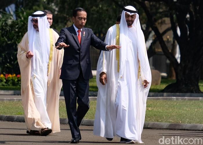 Presiden Joko Widodo bersama Putra Mahkota Abu Dhabi  Sheikh Mohamed bin Zayed al Nahyan di Istana Bogor (Foto: Andhika/detikcom)