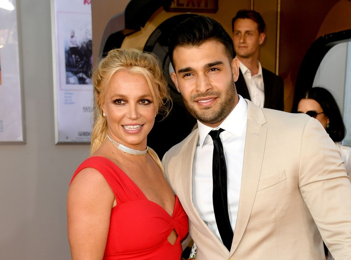 HOLLYWOOD, CALIFORNIA - JULY 22: Britney Spears (L) and Sam Asghari arrive at the premiere of Sony Pictures