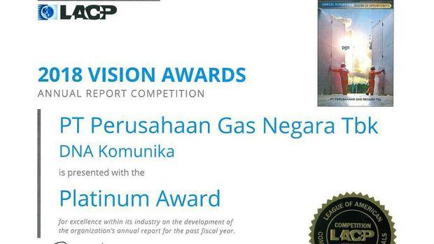 Laporan Tahunan Berkualitas, PGN Sabet Penghargaan Internasional
