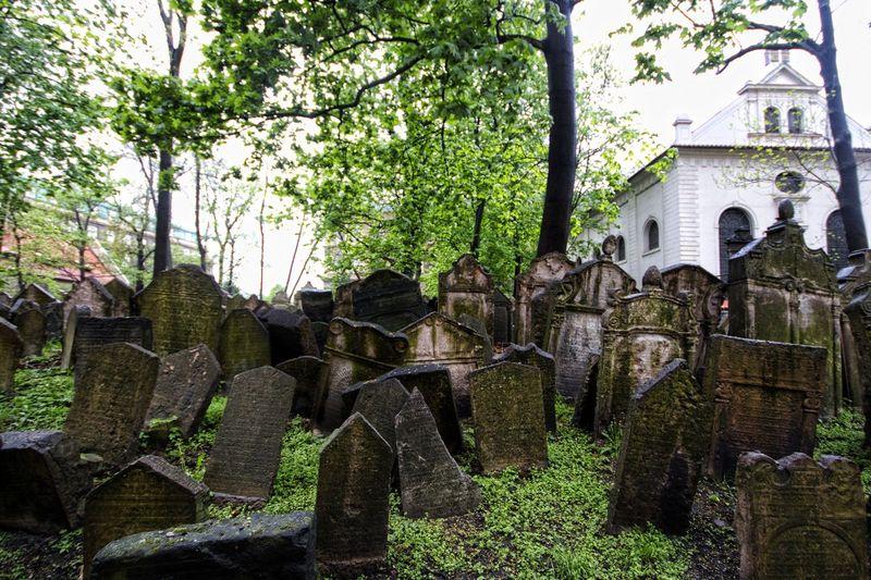 Old Jewish Cemetery, Praha telah ada semenjak abad ke 15 dengan batu nisan Avigdor Kara yang berasal dari tahun 1439-1787. Jumlah batu nisan dengan orang terkubur tidak pasti, karena makam terus ditumpuk-tumpuk hingga berapa lapisan. Pekuburan ini merupakan salah satu tempat berhantu dan sering dijadikan tempat aktivitas paranormal. (iStock)