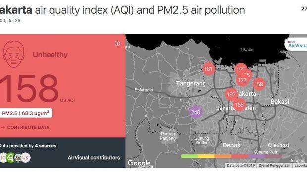 Pantuan AirVisual: Polusi Udara Jakarta Hari Ini Kian Parah