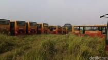 Lokasi Bangkai Bus Bertulisan TransJakarta di Bogor Terbakar