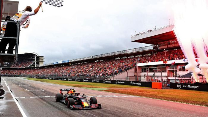 Max Verstappen menjuarai GP Jerman.  (Foto: Mark Thompson/Getty Images)