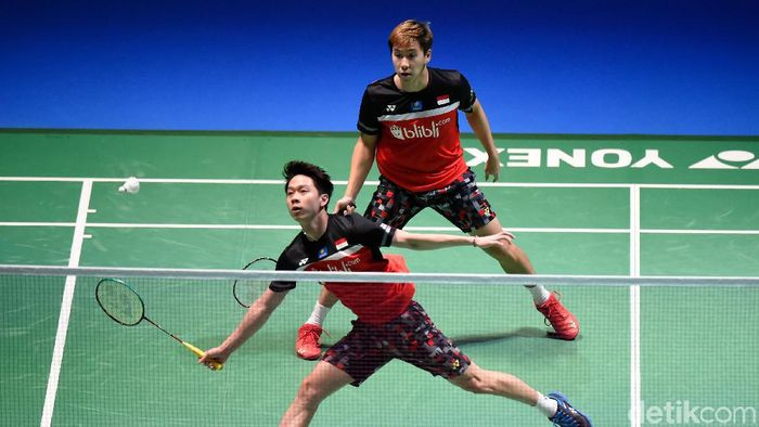 Kevin Sanjaya/Marcus Fernaldi Gideon lolos ke final Fuzhou China Open 2019. (Foto: Matt Roberts/Getty Images)