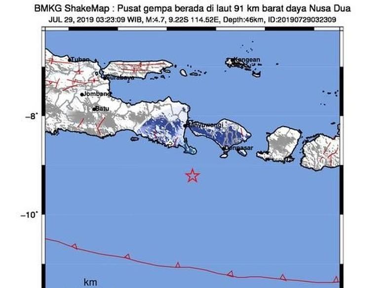 Gempa M 4,7 Terjadi di Barat Daya Nusa Dua
