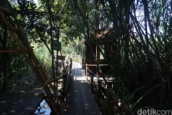 Jembatan dan pondok dari bambu sudah mulai dibuat (Shinta Angriyana/detikcom)