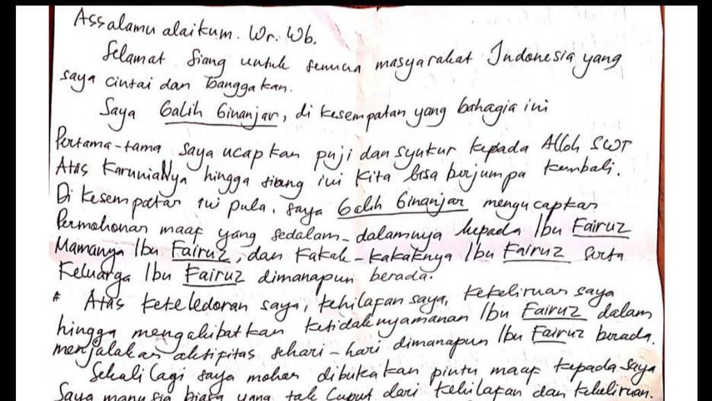 Surat Permohonan Maaf Galih Terkait Kasus Ikan Asin dari Balik Rutan