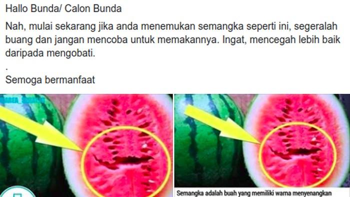 Semangka yang bolong di tengahnya disebut bisa bikin kanker. (Foto: Tangkapan layar Facebook)