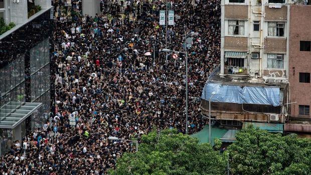 Demonstran antipemerintah kembali menggelar unjuk rasa di Hong Kong