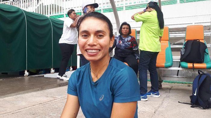 Maria Natalia Londa merebut emas di Kejurnas Atletik 2019 (Mercy Raya/detikSport)