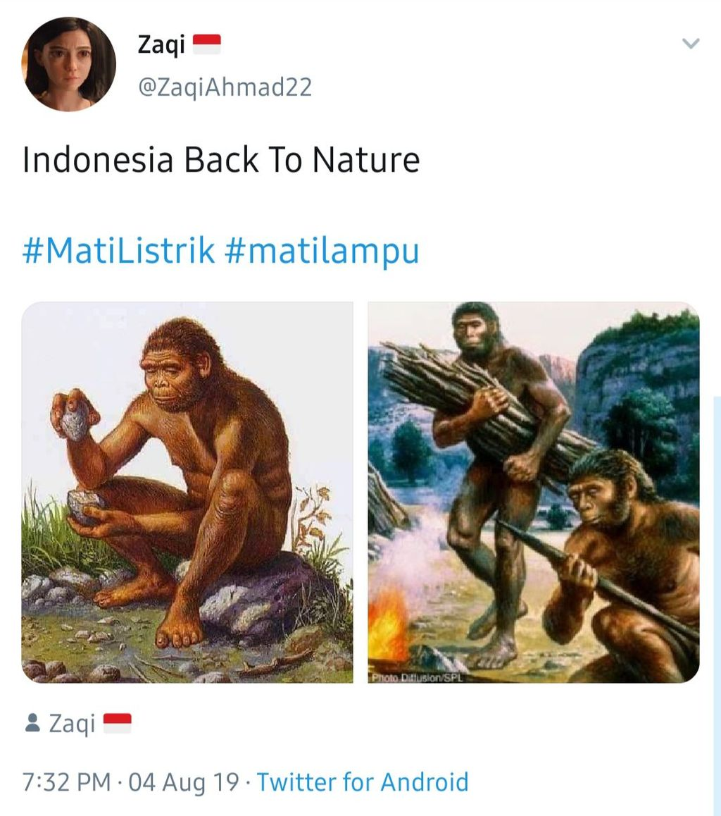 Pemadaman listrik bikin Indonesia kembali ke alam. (Foto: Twitter)