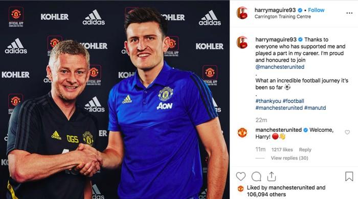 Postingan terkini di Instagram Harry Maguire. Foto: Instagram