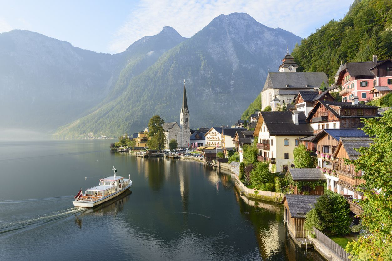 Ferry boat by the lakeside village of Hallstatt, Austria.