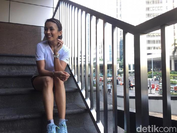 Melanie Putria selain sebagai Putri Indonesia 2002 juga dikenal sebagai pelari marathon (Foto: Uyung/detikHealth)