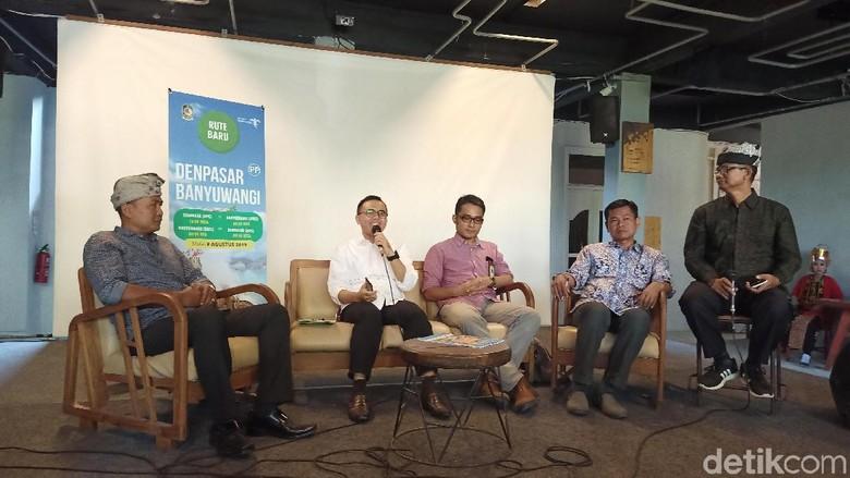 Jumpa pers pembukaan kembali rute Denpasar-Banyuwangi (Aditya/detikcom)