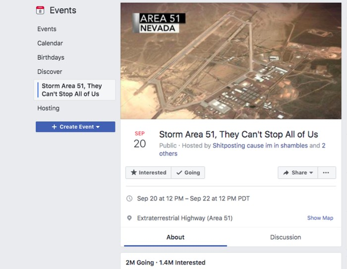 Undangan serbu Area 51. Foto: Facebook