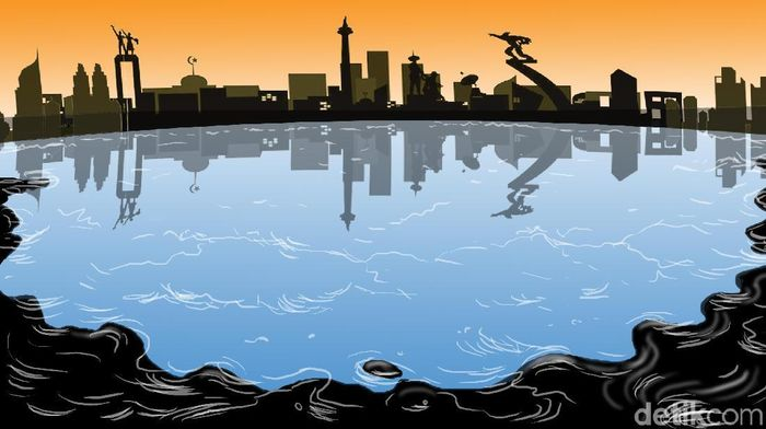 Ilustrasi Limbah Minyak di Laut Foto: Ilustrator: Edi Wahyono