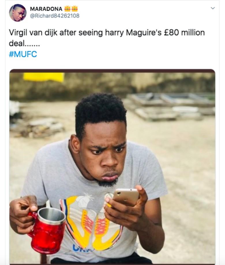 Beberapa netizen memang terkejut transfer Maguire melampaui Virgil Van Dijk yang sekarang calon pemain terbaik dunia. Van Dijk dibeli Liverpool sekitar 75 juta poundsterling. Foto: istimewa