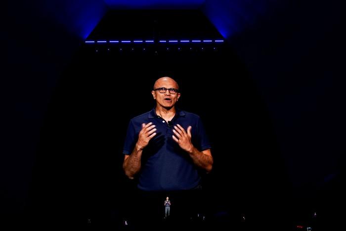 Satya Nadella di peluncuran Galaxy Note 10. Foto: Reuters