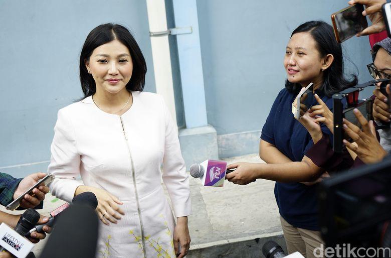 Sarwendah saat ditemui di studio Trans TV, Kapten Tendean, Jakarta Selatan pada Kamis (8/8).Pool/Palevi S/detikFoto.