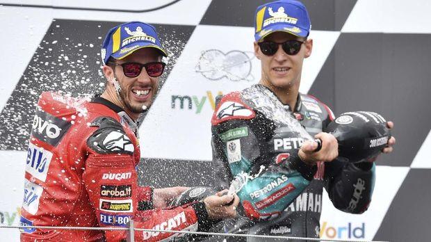 Fabio Quartararo membuat Andrea Dovizioso gagal finis di MotoGP Inggris 2019.