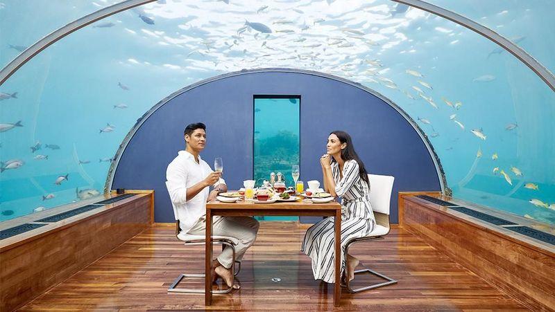 Restoran ini merupakan bagian dari resor mewah bernama Conrad Rangali. Dan tentu saja, hanya tamu resort inilah yang bisa menikmati makan siang sembari menikmati ratusan ikan berenang ke sana kemari. (Conrad Maldives Rangali Island)