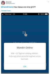 OVO Down! Netizen Keluhan Tak Bisa Top Up Via Mobile Banking