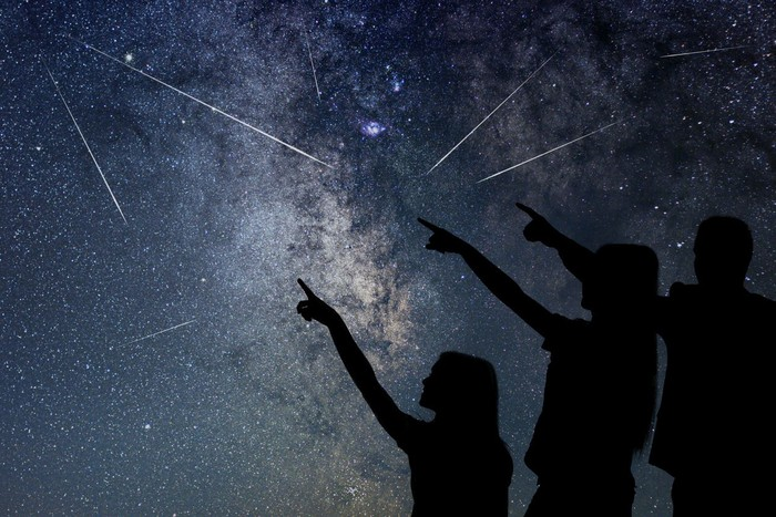 Father and his daughter are watching Meteor Shower. Night sky.