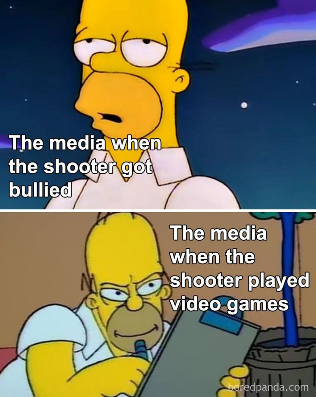 Meme ini menyindir media yang dianggap pilih kasih dalam menyoroti pelaku kekerasan ketika tahuia seorang gamer.(Foto: via Boredpanda.com)