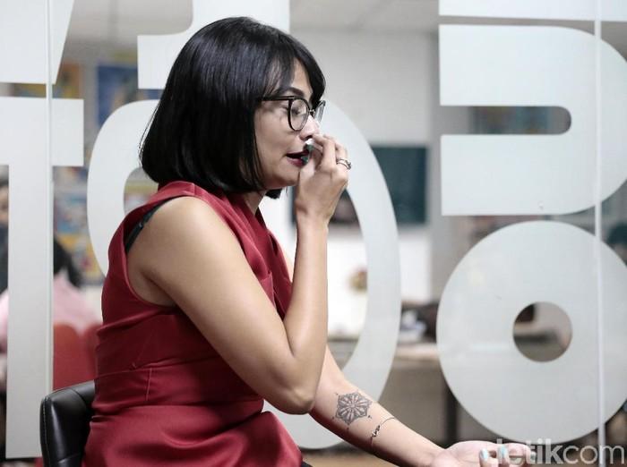 Vanessa Angel saat berkunjung ke kantor detikcom.