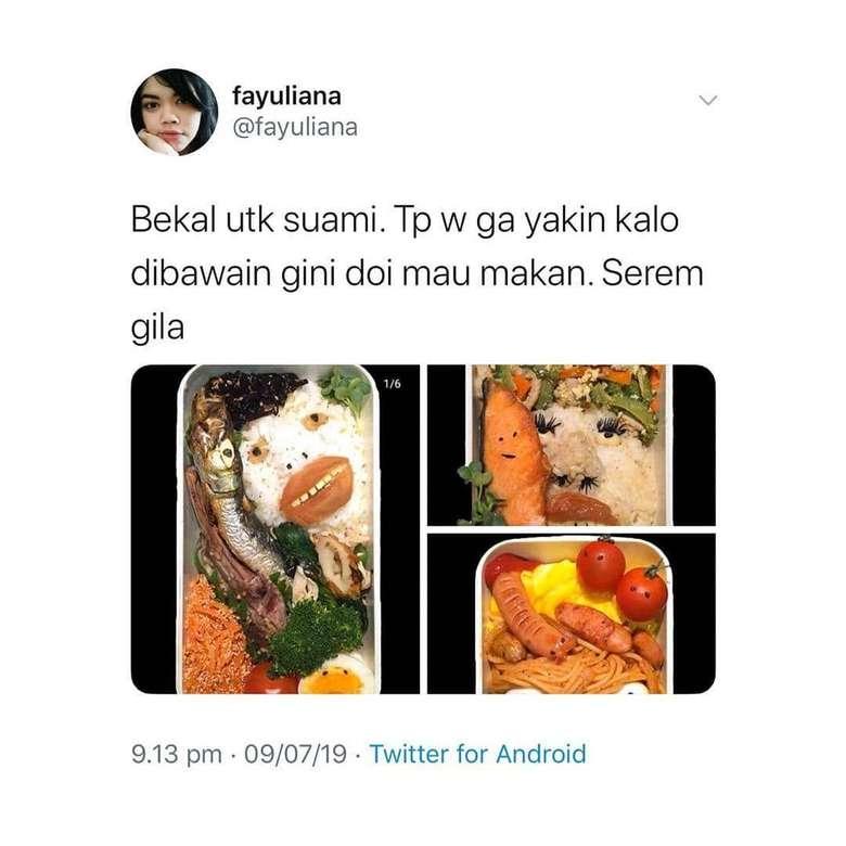 Ada beberapa foto bekal makanan yang terdiri dari nasi hingga mie. Tapi wanita ini membuatnya dengan tampilan yang bikin merinding. Kira-kira sang suami mau makan nggak ya? Foto: twitter