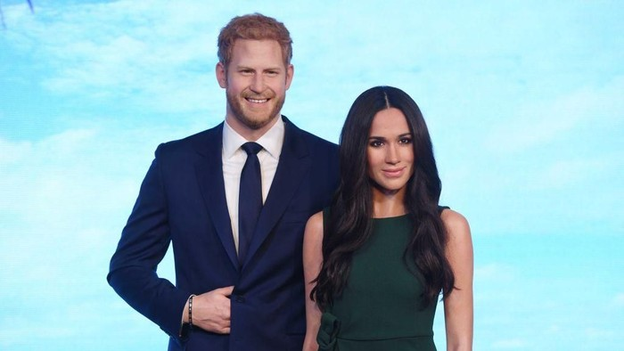 Patung lilin Pangeran Harry dan Meghan Markle di Madame Tussauds London. Foto: Stuart C. Wilson/Getty Images