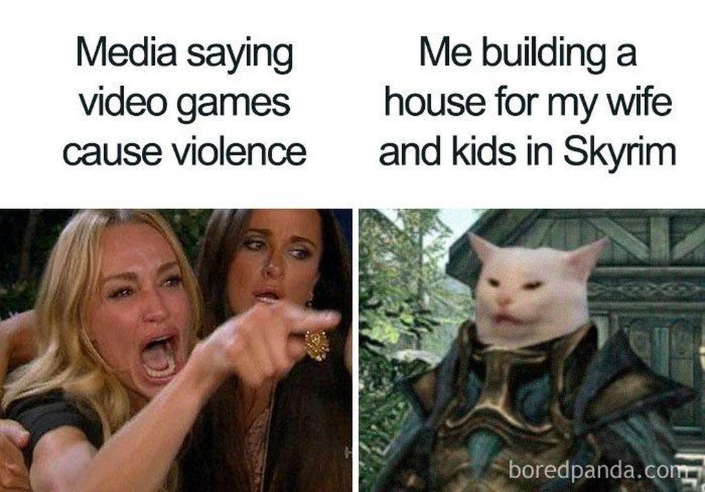 Video game memicu kekerasan? Padahal di game macam Skyrim pun tetap ada pilihan untuk hidup tenang. (Foto: via Boredpanda.com)