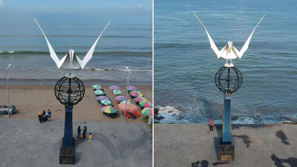 Before-After, Dampak Abrasi Monumen Merpati Perdamaian