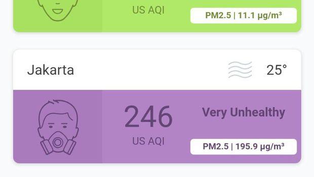 Pantauan di Airvisual menunjukkan polusi di Jakarta ada di level 'sangat tidak sehat'.
