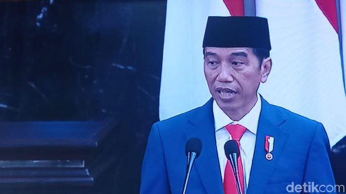 Foto: Jokowi di sidang tahunan MPR (Zunita/detikcom)