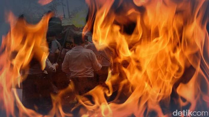 Ilustrasi Fokus Polisi Terbakar (Luthfy Syahban/detikcom)