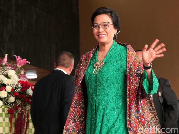 Menteri Keuangan Sri Mulyani memakai kebaya hijau karya Didiet Maulana di Sidang Tahunan MPR 2019. (Foto: Lamhot Aritonang/detikcom)