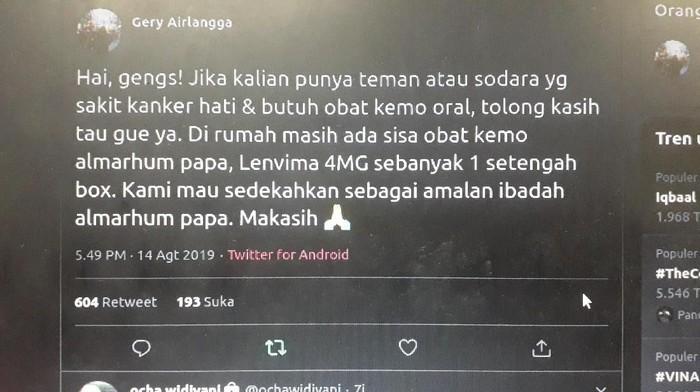 Netizen ini menyumbangkan obat kanker hati almarhum ayahnya. (Foto: Tangkapan layar Twitter)