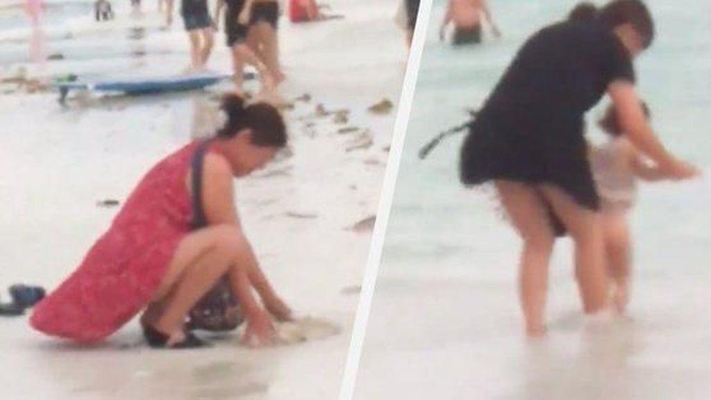 Viral di Twitter, Turis China Kubur Popok di Pantai
