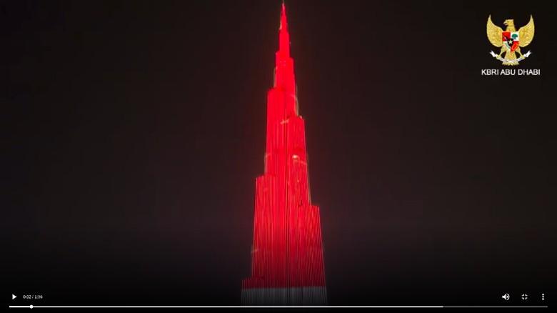 Bangga! Saat Merah Putih Selimuti Burj Khalifa di Dubai