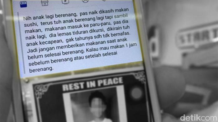 Viral bocah 7 tahun meninggal karena berenang sambil makan sushi (Foto: detikHealth)
