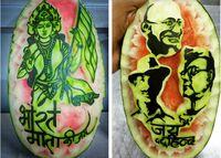 Nasionalis! Chef India Ini Mengukir Potret Pahlawan di Buah Semangka