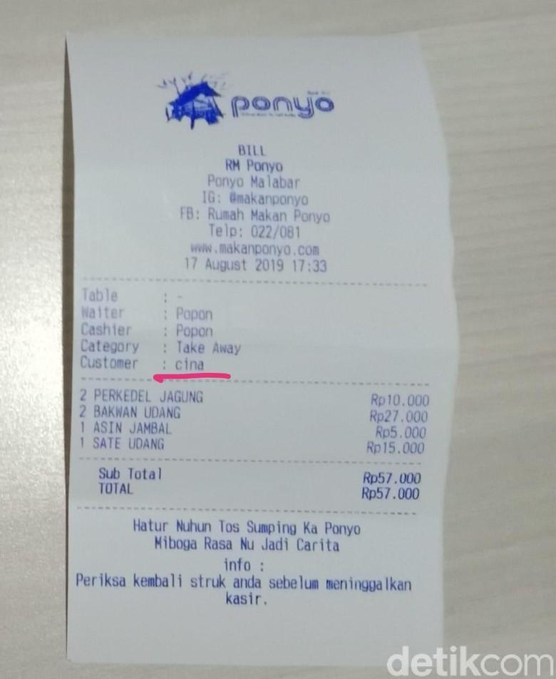 Viral Struk Customer Cina, RM Ponyo Malabar Bandung Angkat Bicara