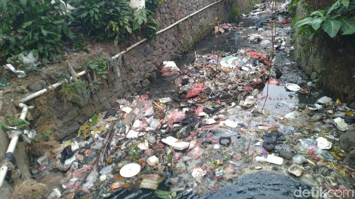 Foto: Sampah plastik di Kali Cibeureum Bogor (Sachril/detikcom)