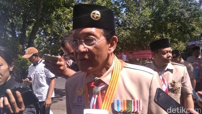 Sri Sultan HB X di Alun-alun Pemkab Gunungkidul. Foto: Pradito Rida Pertana/detikcom