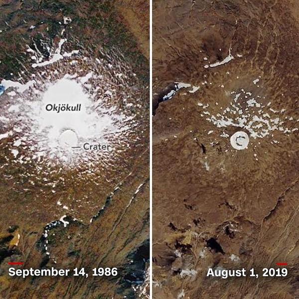 Penyusutan gletser secara drastis ada di Gunung Okjokull. Pengamatan itu dilakukan dari tahun 1986-2019 (CNN Climate/Instagram)